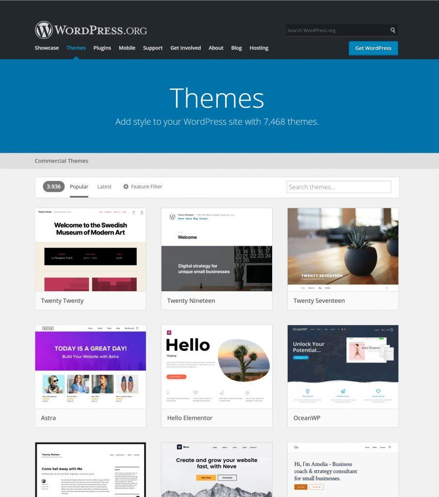 Oversigt over mest downloadede WordPress-temaer