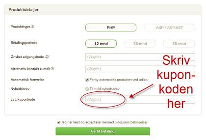 Her skriver du rabatkode / kuponkode hos Unoeuro